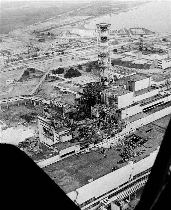 This aerial photo of the Chernobyl nuclear power plant was taken in the days after the explosion and fire on April 26,1986.