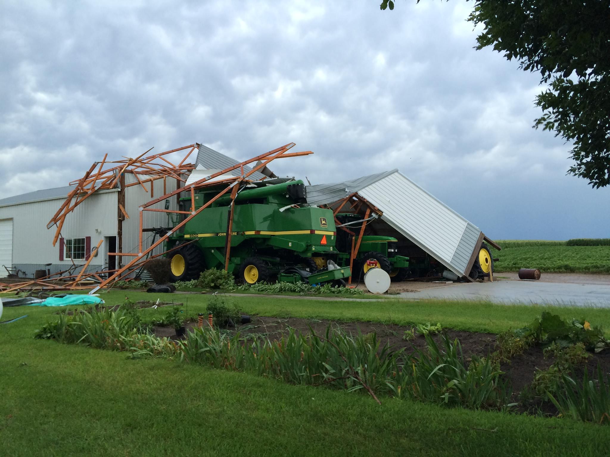 Storm damage between Gilbertville and Raymond