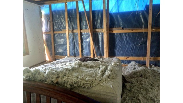 The Werner family's bedroom after the tornado.