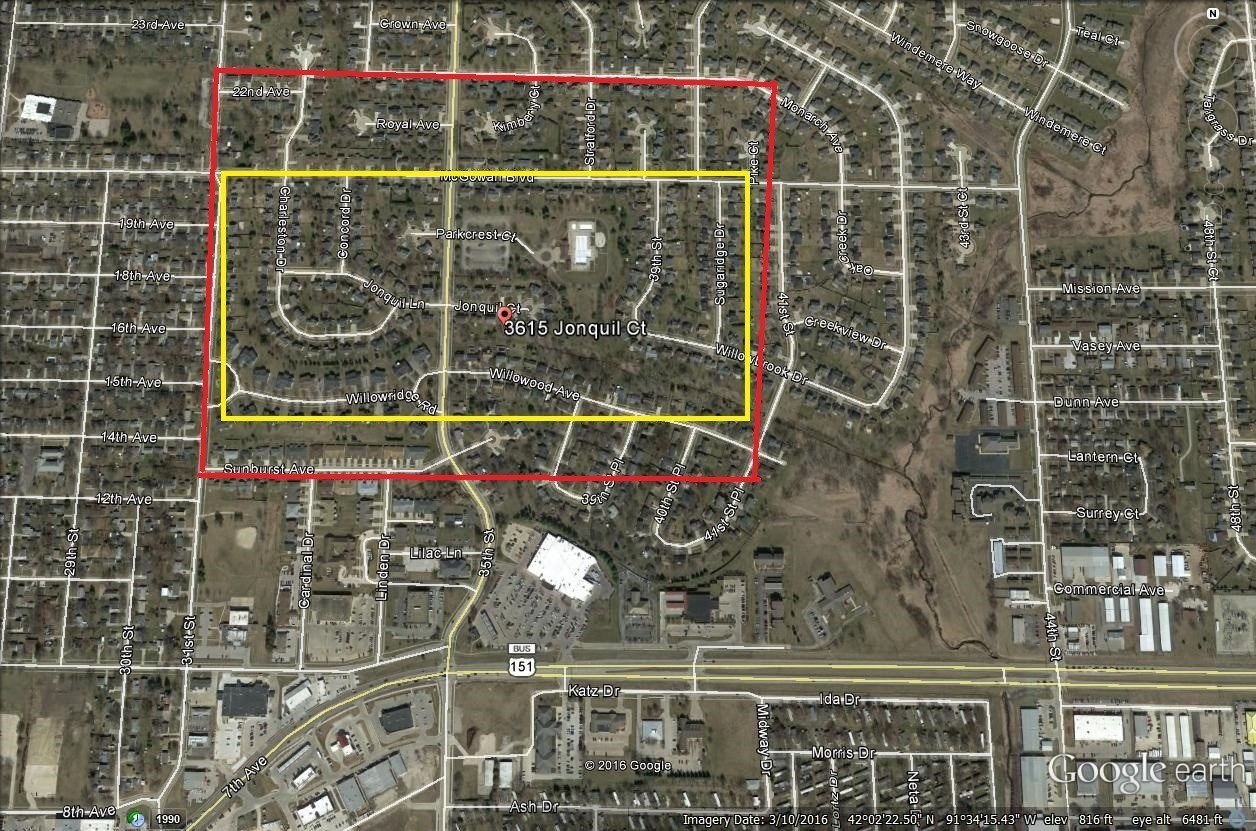 Area effected by fungicide. Red area had some white specking on vehicles andobjects in yards. Yellow area had white sticky substance on vehicles and objects in yards.