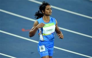 Dutee Chand of India competes in women's 100m Round 1 heat of the athletic, track and field events during the Rio 2016 Olympic Games in Rio de Janeiro, Brazil, on12 August 2016. Sebastian Kahnert / Sebastian Kahnert/picture-allian