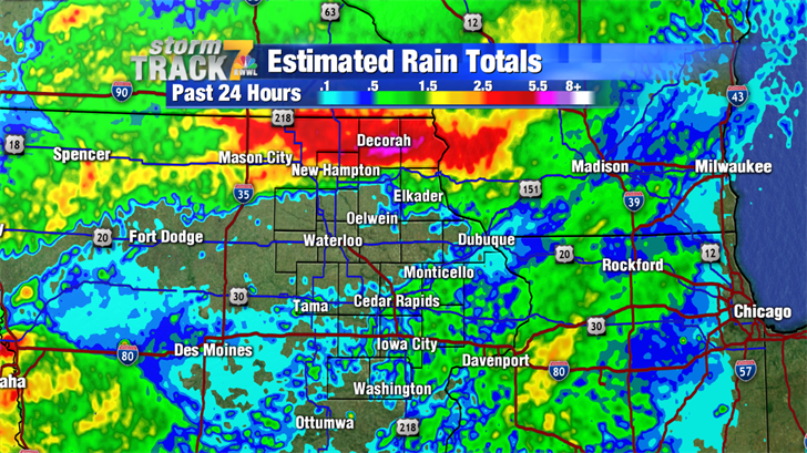 Radar Estimated 24 Hour Rain Totals