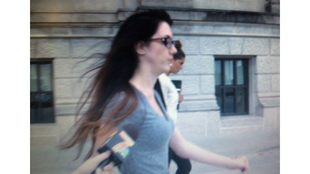 Mary Beth Haglin walking out of jail after bonding out on Friday afternoon.