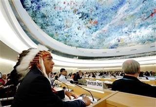 Dave Archambault II, chairman of the Standing Rock Sioux tribe, waits to give his speech against the Energy Transfer Partners' Dakota Access oil pipeline during the Human Rights Council at the United Nations in Geneva, Switzerland on Sept. 20, 2016. DENIS