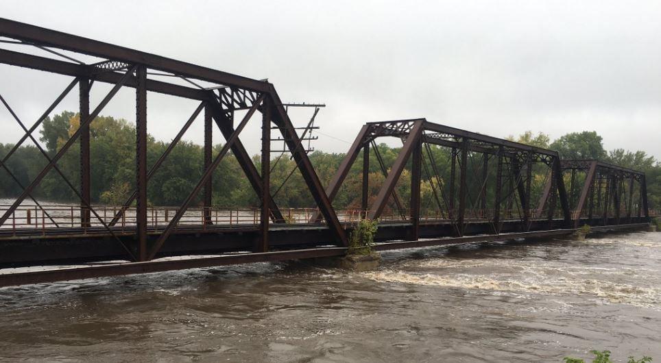Cedar River near downtown Cedar Falls during flooding in September 2016