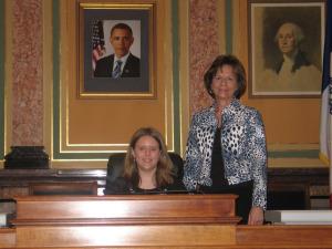 State Representative Doris Kelley with Olivia Jordan of Hudson Community Schools