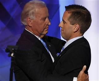 Then-U.S. Democratic Vice-Presidential nominee Sen. Joe Biden (L) hugs his son Delaware Attorney General Beau Biden, during day three of the Democratic National Convention (DNC) at the Pepsi Center August 27, 2008 in Denver, Colorado. Mark Wilson / Getty