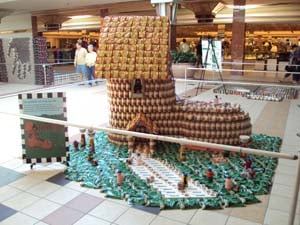 This design by architects with Shive-Hattery Architects won Saturday's canstruction competition.