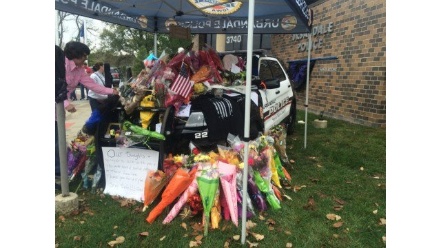 Scene outside of the Urbandale Police Department this afternoon.