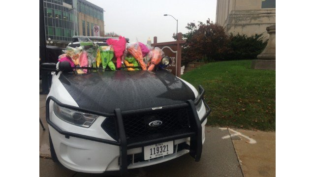 Scene outside the Des Moines Police Department this morning.