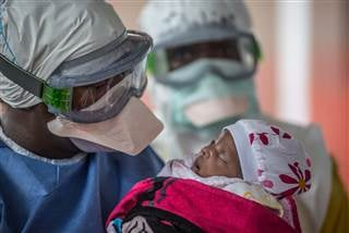 Nubia, a baby who survived Ebola, at the Doctors Without Borders Ebola clinic in Conakry, Guinea. Tommy Trenchard / Doctors Without Borders