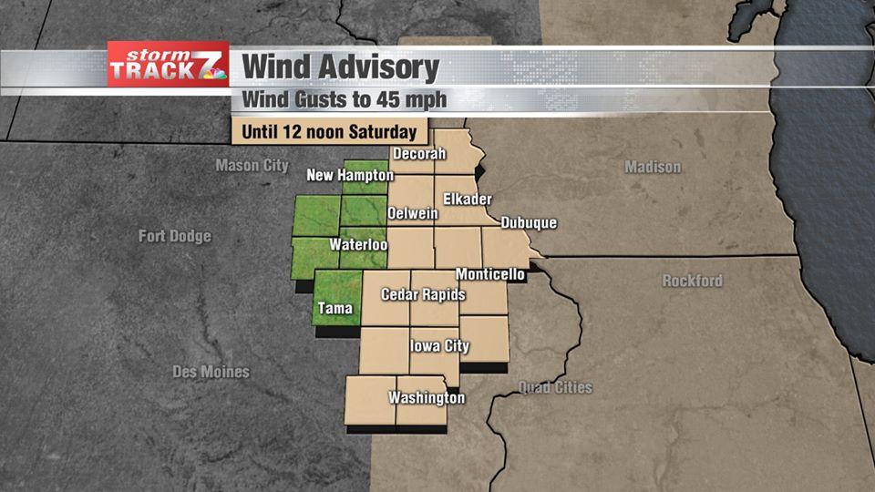Wind Advisory Saturday Morning