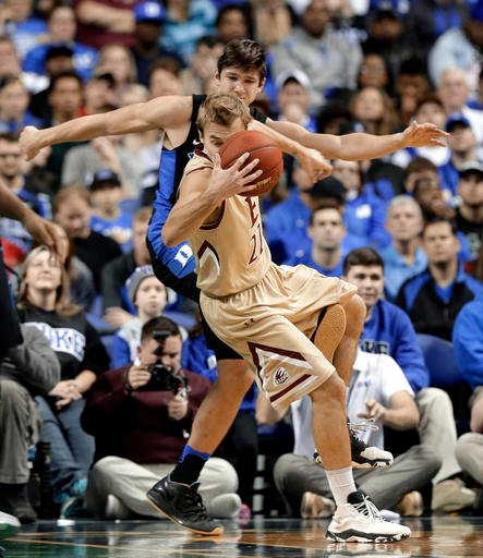 (AP Photo/Chuck Burton). Elon's Steven Santa Ana (22) is tripped by Duke's Grayson Allen (3) in the first half of an NCAA college basketball game in Greensboro, N.C., Wednesday, Dec. 21, 2016. Allen was called for a technical foul on the play.