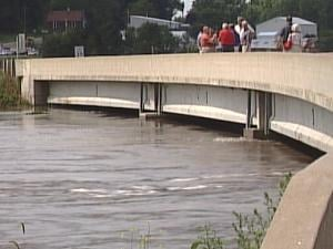 The North Main Street bridge over the flooded river in Maquoketa