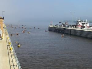 Boaters make their way through Dubuque's Lock and Dam 11 (photo credit Kathy Stierman)