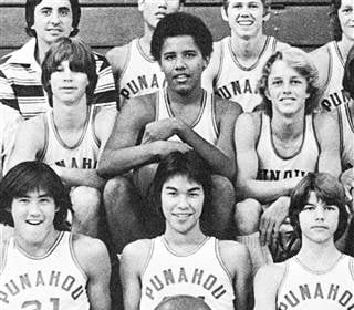 Barack Obama as a sophomore with the junior varsity basketball team at Punahou School, Honolulu, in 1977. Seth Poppe / Yearbook Library