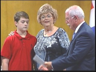 Nicholas Connell is recognized Monday night.