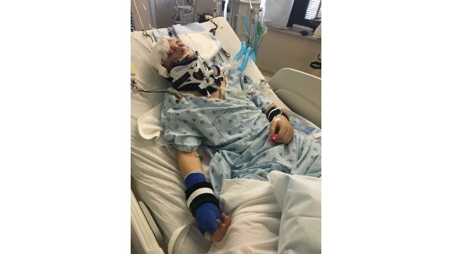 Ryan Jansa at the University of Iowa Hospital in May after he was found unconscious.