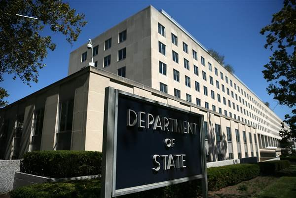A sign stand outside the U.S. State Department in Washington, D.C. Alex Wong / Getty Images