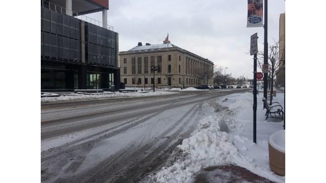 1st Street SE in downtown Cedar Rapids around 10:30 a.m.