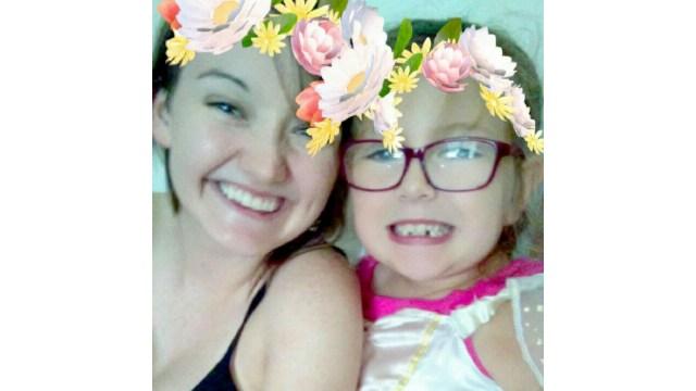 8-year-old Cassie Rieken with her cousin Paige Bouche.