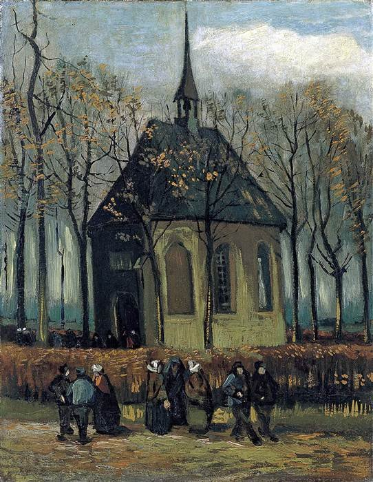 """Vincent van Gogh's 1882 painting, """"Congregation Leaving the Reformed Church in Nuenen."""" Getty Images"""