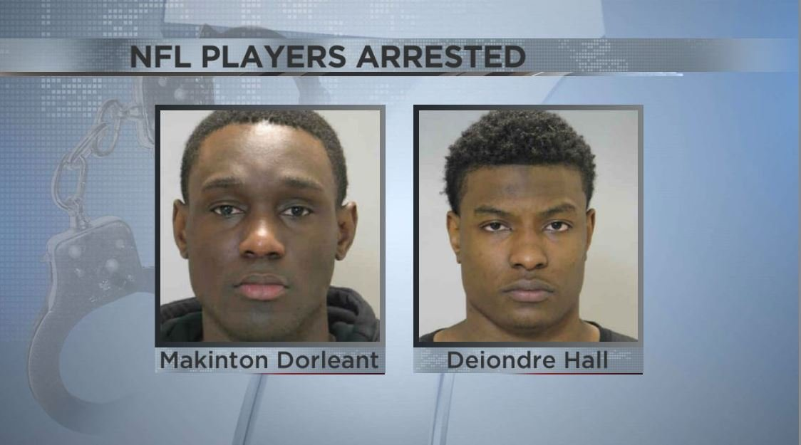 National Football League  players leave bar in handcuffs