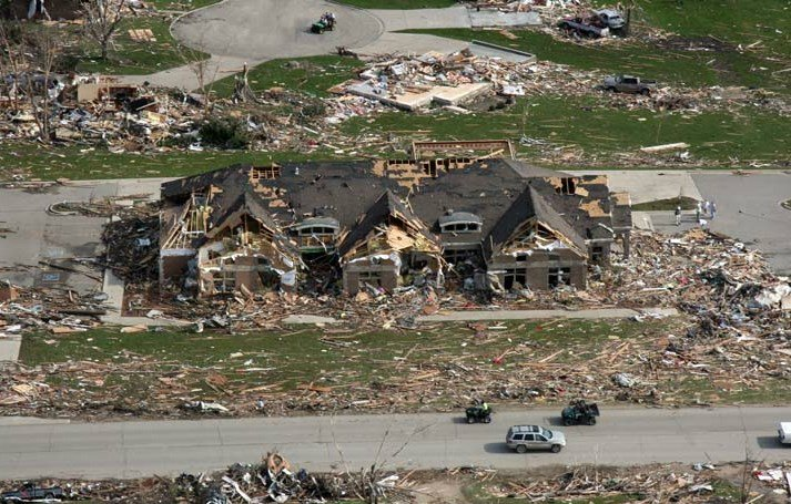 This picture shows the chilling damage from the 2008 EF5 tornado that ripped through Parkersburg, killing two and destroying nearly 300 homes.