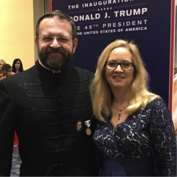 Sebastian Gorka poses with his wife at an inaugural ball wearing a medal from the Hungarian Order of Heroes, Vitezi Rend. Courtesy of LobeLog