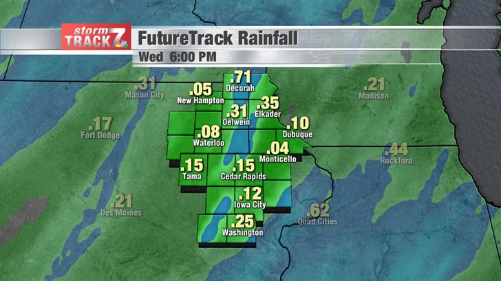 Estimated Rainfall through Wednesday Evening