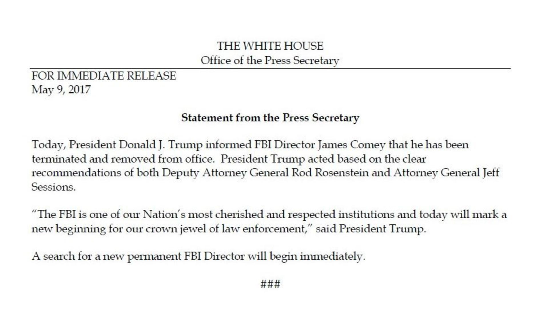 White House statement via Twitter/@NBCNightlyNews