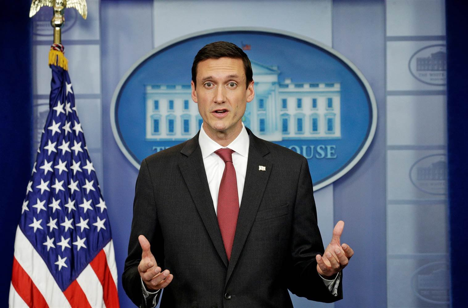 Tom Bossert, President Trump's homeland security adviser, at a briefing Thursday in Washington. Kevin Lamarque / Reuters