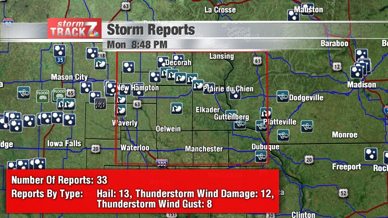 Monday night storm reports