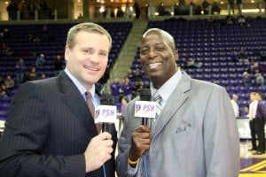 Sportscasters Rob Brooks (left) & KWWL's Rick Coleman (right)