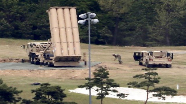 (AP)  A US missile defense system is installed on a golf course in South Korea.