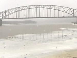 The Mississippi River in Dubuque Sunday afternoon