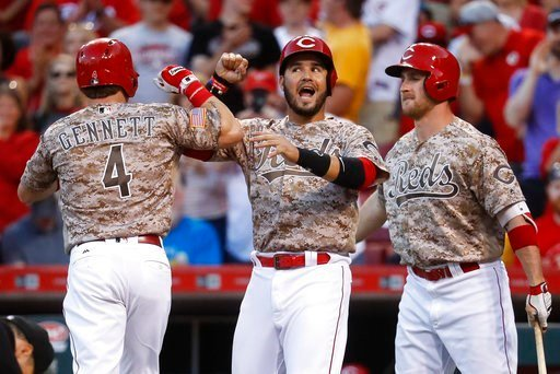 (AP Photo/John Minchillo). Cincinnati Reds' Scooter Gennett (4) celebrates with Eugenio Suarez, center, and Patrick Kivlehan, right, after hitting a two-run home run off St. Louis Cardinals relief pitcher John Gant during Tuesday's game.
