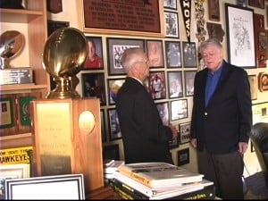 Ron Steele (left) and Hayden Fry (right) at Fry's home in Nevada