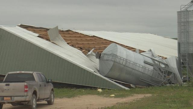 Damage to a hog barn in Jones County.