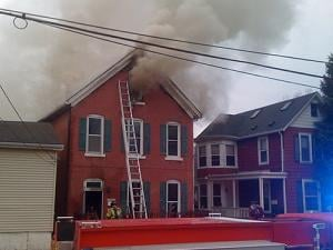Giant clouds of smoke billowed from the duplex for hours