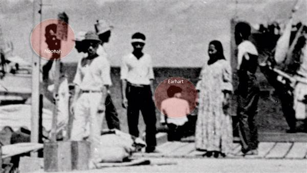 A newly discovered photo shows a woman who resembles Amelia Earhart and a man who appears to be her navigator, Fred Noonan. National Archives
