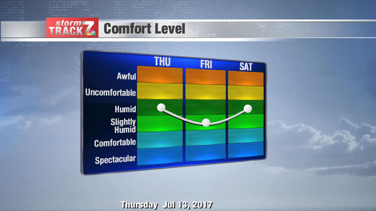 Humid next two days with just a few t-storms