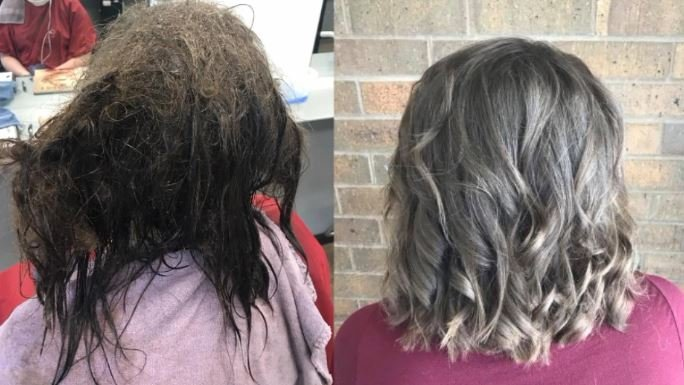 Iowa hairdresser transforms depressed teen's matted hair