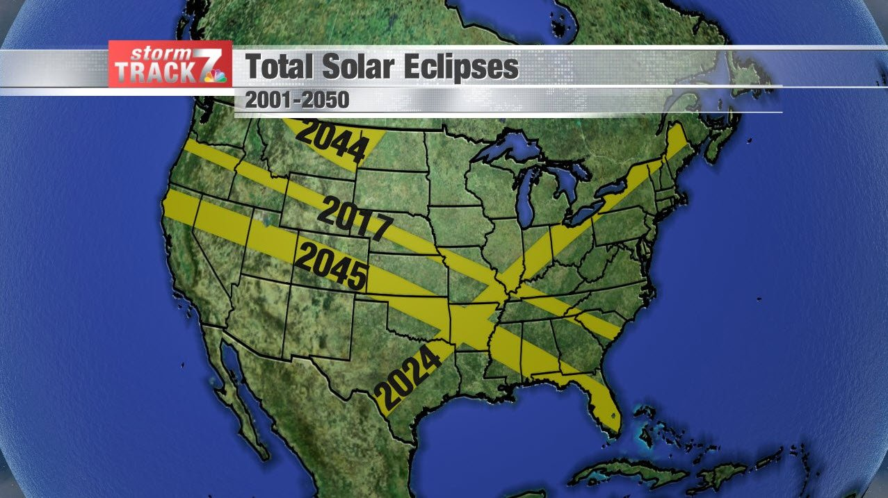 Total Solar Eclipse paths through 2050