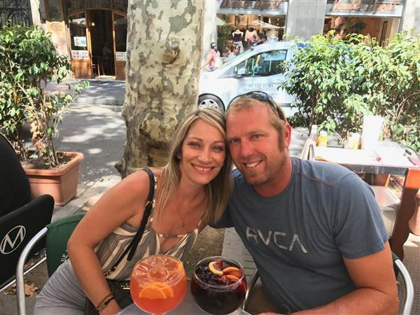 Jared Tucker with his wife.  Photo was taken an hour before the attack.