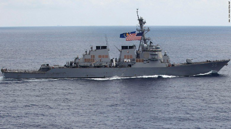 In this photo taken Saturday, Aug. 13, 2011, the USS John S. McCain sails off the coast of Vietnam