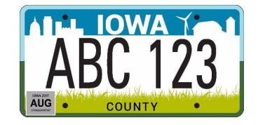 New Iowa license plate