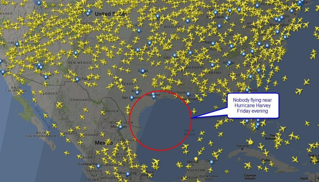 Nobody flying near the hurricane