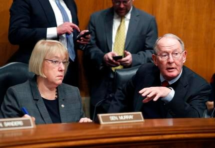 FILE - In this Jan. 31, 2017 file photo, Senate Health, Education, Labor, and Pensions Committee Chairman Sen. Lamar Alexander, R-Tenn., accompanied by the committee's ranking member Sen. Patty Murray, D-Wash. speaks in Washington. (AP Photo/Alex Brandon)