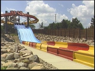 The lifeguard fell from a platform on this slide.
